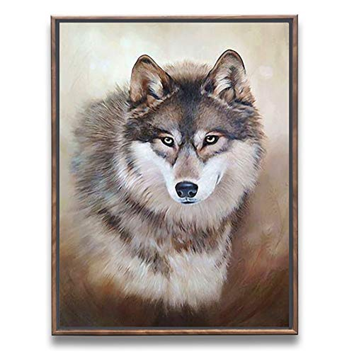 Sumeru Animals Canvas Wall Art Paintings Abstract Wolf 1 Artworks for Home Living Bedroom Office Decoration,1 Piece, 12x16 Inch, Stretched and Framed by Sumeru