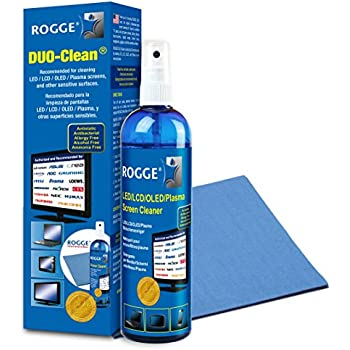 Screen Cleaner Kit - Natural, Streak-Free, Antibacterial - For Phones, LED/LCD TVs, Computers, Laptops, Glasses, ... - Spray 8.4oz + XL Microfiber Cloth (washable) - Made in Germany