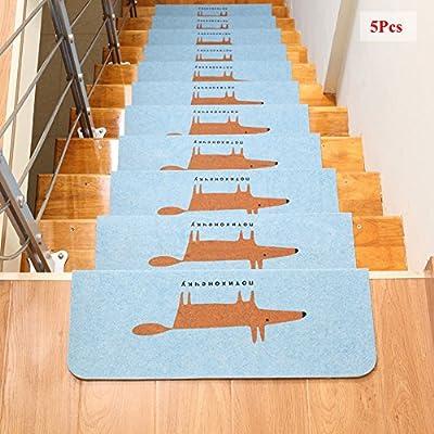 Ozzptuu 5PCS Fox Pattern Carpet Stair Treads Step Mats Home Decor Self-adhesive Anti-Skid Floor Staircase Carpets Protector Mats Rug