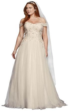 David\'s Bridal Oleg Cassini Tulle Plus Size Wedding Dress Style ...