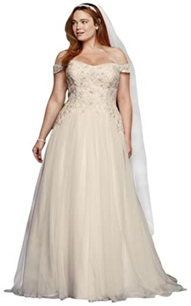 ff9c3f67c22 David s Bridal Oleg Cassini Tulle Plus Size Wedding Dress Style 8CWG729 -  White -