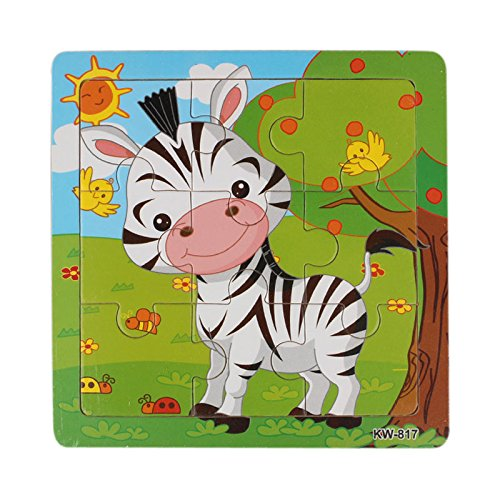 Rong Halloween Wooden Zebra Jigsaw Toys for Kids Education and Learning Puzzles Toys (Color, A) -