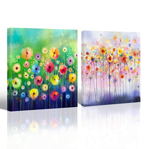 (Watercolor Flower Picture Canvas Print Wall Art Multi-Color Painting for Girls Room Kids Living Room Bedroom Decoration Blue Green Yellow Floral Poster Prints Artwork Home Decor,16x16 x2P Framed )