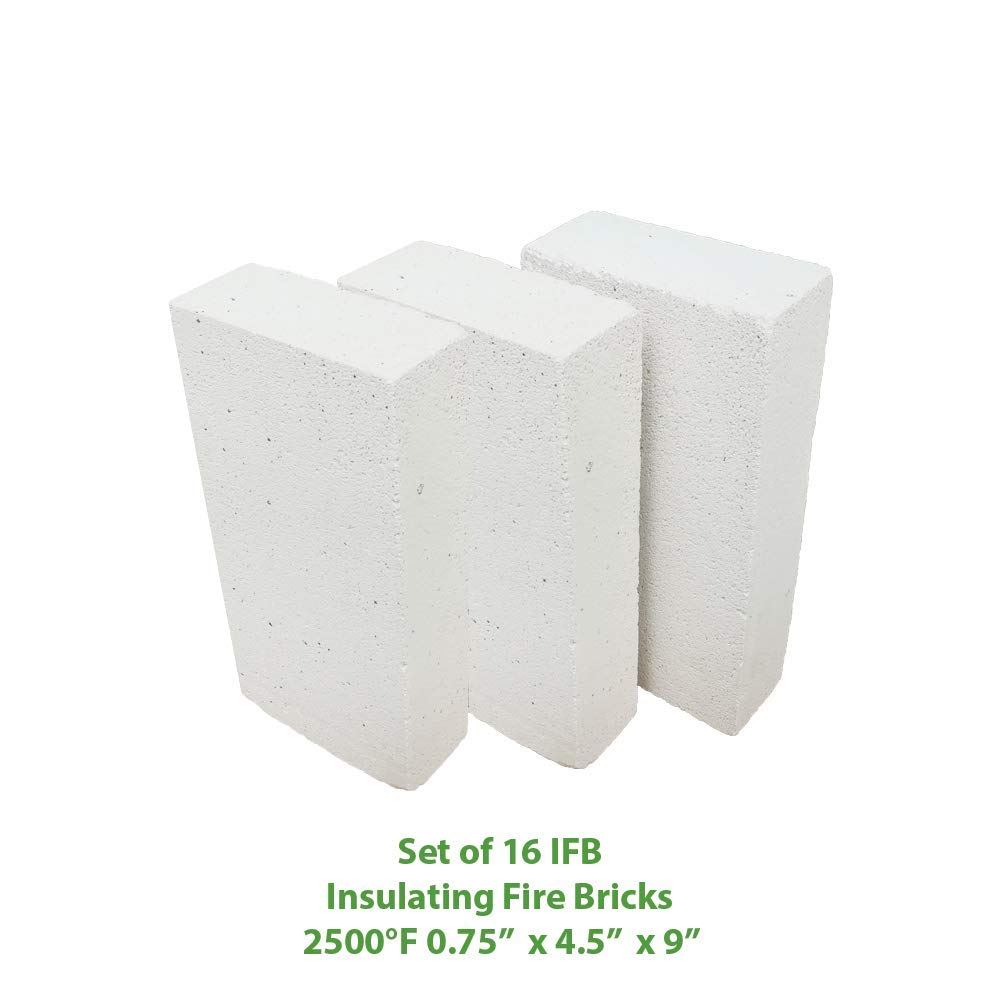 Insulating FireBrick 9 x 4.5 x 0.75 IFB 2500F Set of 16 Fire Brick for Pizza Ovens Fireplaces Forges Kilns