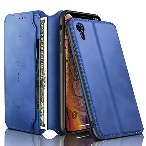 REALIKE iPhone XR Wallet Case Leather Folio Flip Case with Kickstand for iPhone XR Slim Fit with Magnetic Closure Shockproof Protection for Men and Women. -Blue Color