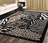 Animal Prints Area Rug Design Skinz 70 Black (8 Feet X 10 Feet)