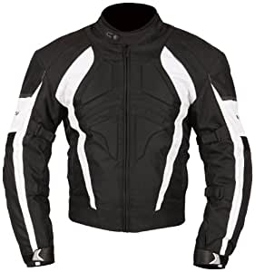 Milano Sport Gamma Motorcycle Jacket with White Accent (Black, X-Large)