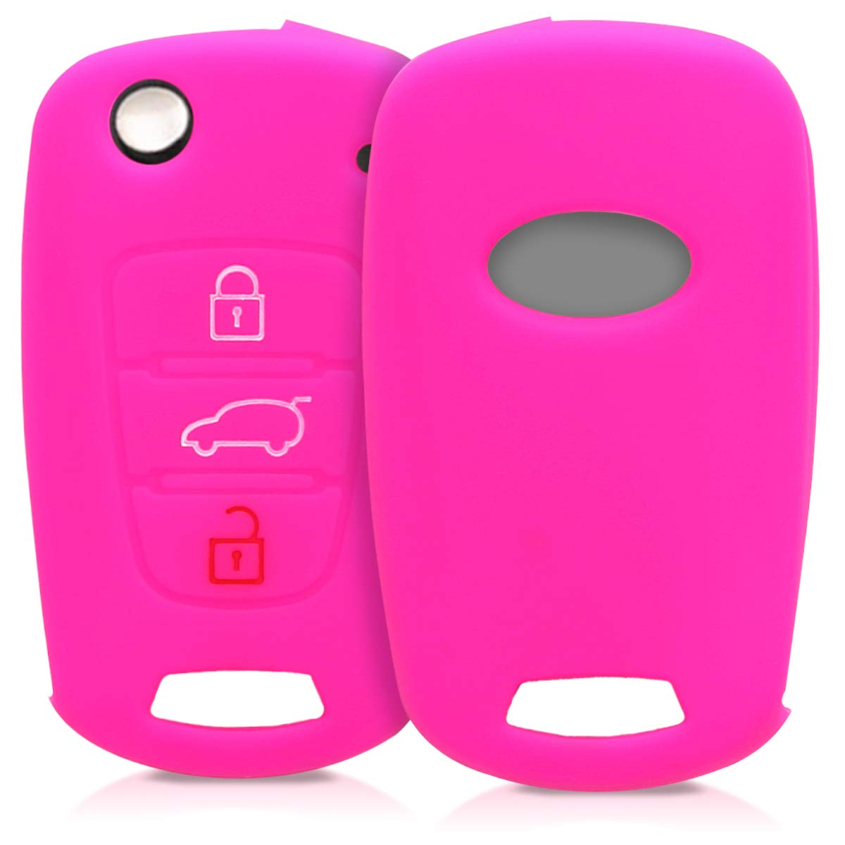 kwmobile Car Key Cover for Kia - Silicone Protective Key Fob Cover for Kia 3 Button Car Flip Key - White/Black