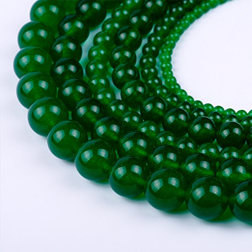 Natural Round Dark Green Jade Loose Stone Beads For Bracelet Necklace DIY Jewelry Making 4MM, 6MM, 8MM, 10MM, 12MM By Ruilong (8MM)