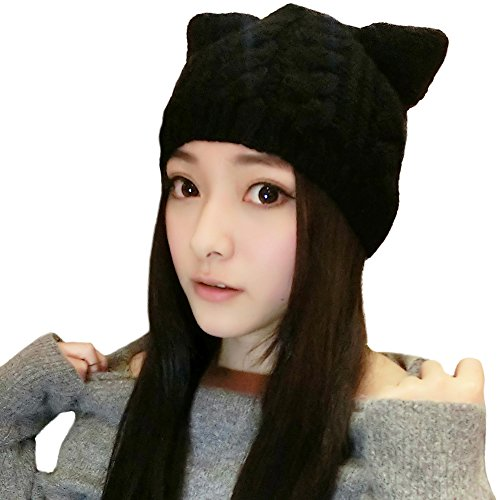 SIGGI Cat Ears Beanie Hats for Womens Wool Knit Beanies Black Pussy Cat Hats Winter Slouch Skull