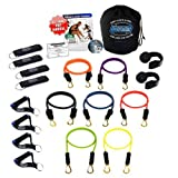 Bodylastics 19 pcs Resistance Bands *STRONG MAN STACKABLE Set (202 lbs.) with 7 anti-snap exercise tubes, Heavy Duty components, carrying case, DVD and FREE 6 month membership to LIVEEXERCISE website
