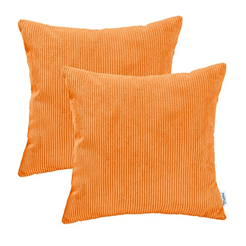 CaliTime Pack of 2 Cozy Throw Pillow Covers Cases for Couch Bed Sofa Ultra Soft Corduroy Striped Both Sides 18 X 18 inches Bright Orange