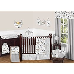 Blue Grey and White Woodland Animal Safari Bear Deer Fox Baby Boy Bedding 11pc Crib Set without bumper