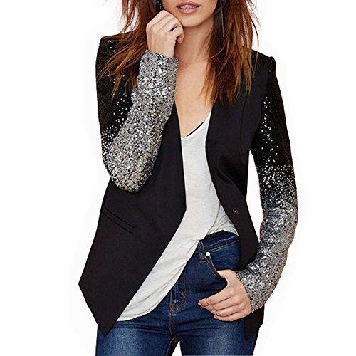 ViviClo Women's Sequin Sleeve Casual Work Office Button Cardigan Blazer Jacket (L,
