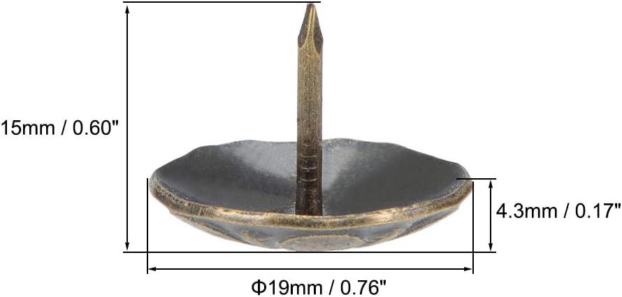 Polster Nagel Zwecke rund Daumen Heftzwecke bronzefarbe 19mm Kopfdmr. sourcing map 40Stk