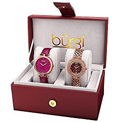 Leather and Stainless Steel Strap Crystal Watch Set