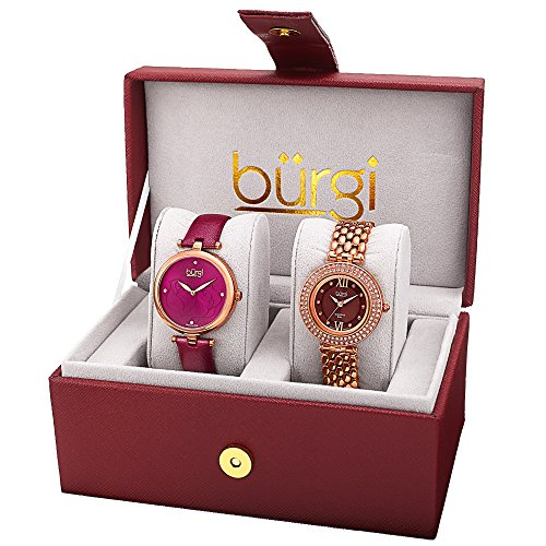 (Burgi Women's BUR152RG Rose Gold Quartz Watch Set Including BUR151BUR And BUR126RG)