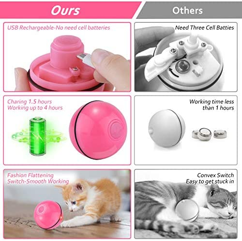 Interactive Cat Toys for Indoor Cat,Upgraded Version Self Rotating Electronic USB Rechargeable Wicked Cat Toy Ball with Build-in Red LED Light,Stimulate Hunting Instinct for Your Cat/Kitten (Red) 3