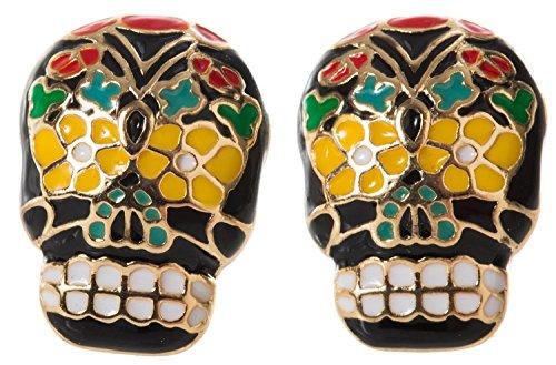 (Artisan Owl - Black and Goldtone Sugar Skull Stud)