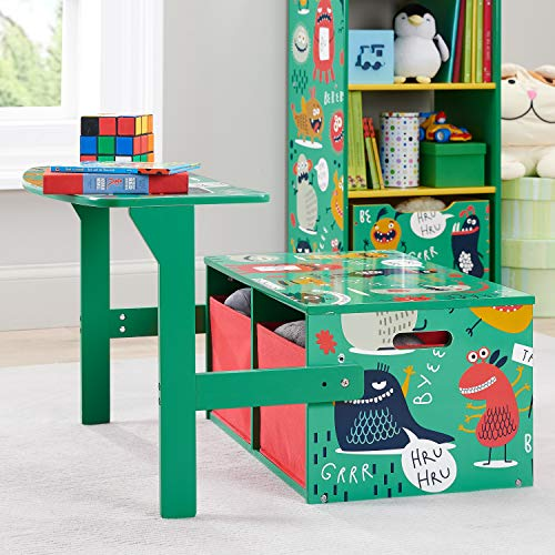 Playful and So Adorable Monsters 3-in-1 Convertible Kids Desk,Storage Bench and 2 Bins,Ideal for Classrooms,Art Rooms,Children's Bedrooms,Playrooms and More,Green (Unit Convertible Bench)