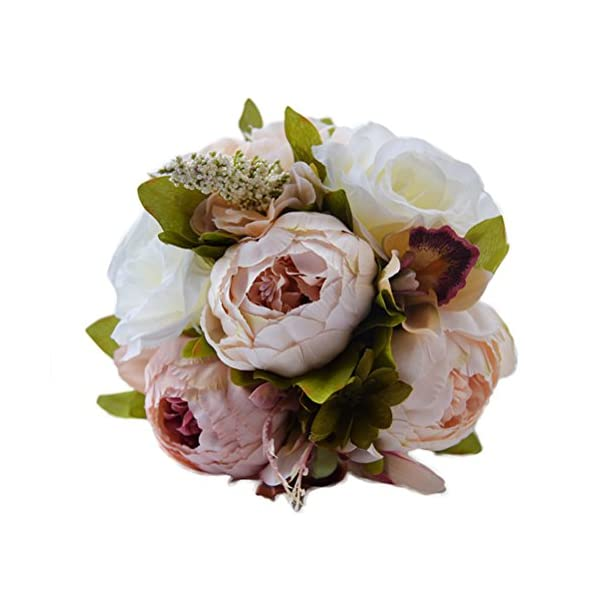 Wedding Bouquet Roses Bridesmaid Bouquet Bridal Bouquet Simulation Flowers for Wedding Party (Peony)