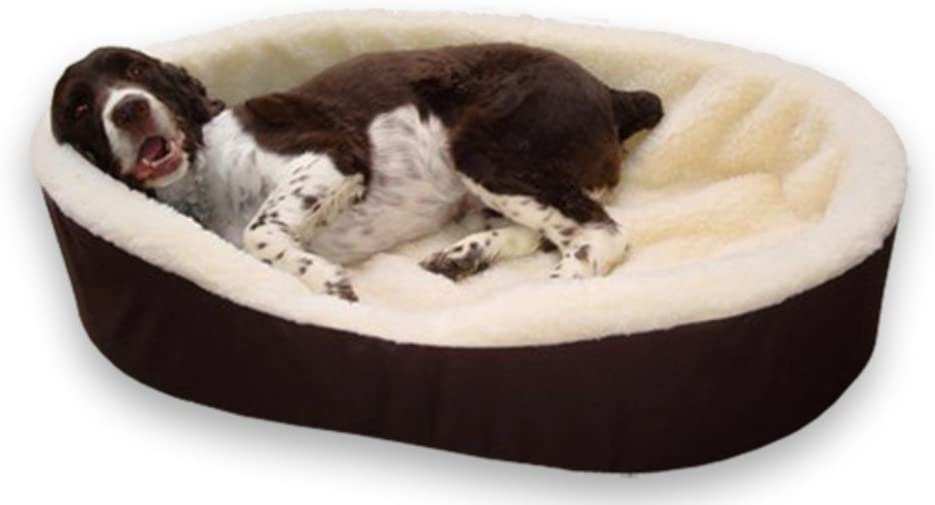 Dog Bed King Pet Bed Large. Additional Cover Included. Brown Imitation Lambswool. Size 33x23x7 .
