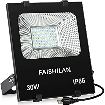 FAISHILAN 30W LED Flood Light-IP66 Waterproof Work Light Outdoor Lamp with US-3 Plug, 6500K Floodlight for Garage, Garden, Lawn and Yard
