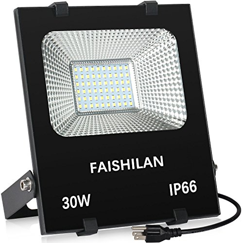 FAISHILAN 30W LED Flood Light Outdoor IP66 Waterproof with US-3 Plug 5000Lm for Garage,Garden,Yard