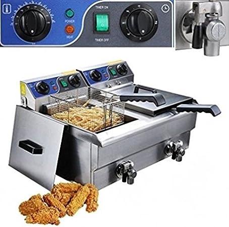 Freidora eléctrica 20L, 2 Depósito de acero inoxidable 2 x 10L, temporizador Digital y grifo desagüe para limpieza. 110 V: Amazon.es: Hogar
