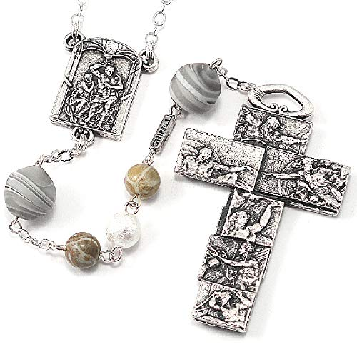 Murano Rosary Crucifix - Ghirelli Sistine Chapel Rosary with Genuine Murano Glass 15203