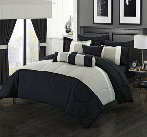 Perfect Home 20 Piece Standon Complete pieced color block bedding, sheets, window panel collection Queen Bed In a Bag Comforter Set Black, Sheets Included