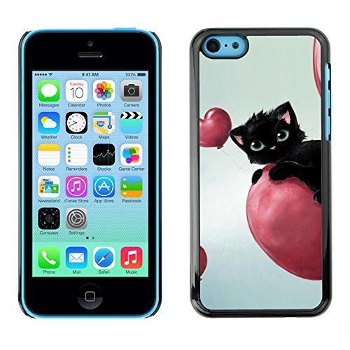 TaiTech / Case Cover Housse Coque étui - Cat Pink Hearts Balloon Black Blue Eyes - Apple iPhone 5C