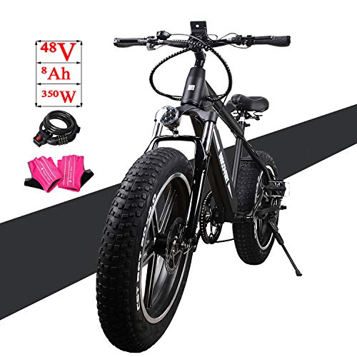 NAKTO Fat Tire Electric Bicycle Super Stable 500W/300W/350W Brushless Motor Three Working Mode 48V/36V Removable High Capacity Waterproof Lithium Battery