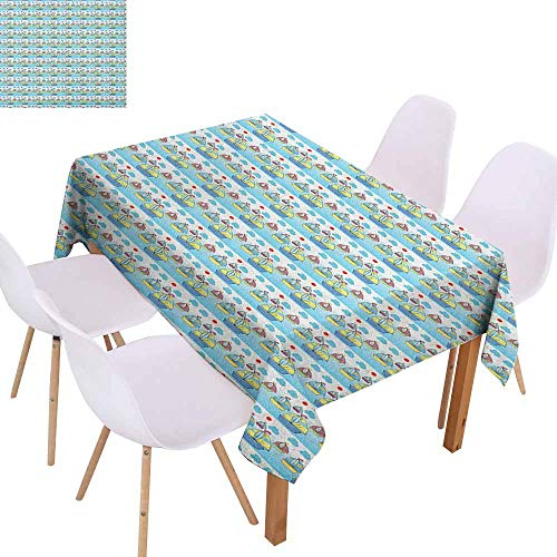 Restaurant Tablecloth Summer Sail Boats in The Stripes Sea Holiday Sun Ocean Clouds Sky in Cartoon Drawing Style Picnic W60 xL84 Multicolor