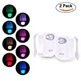 SOCW Toilet Light, Auto Body Motion Activated Toilet Night Light 8 Color Changing LED Toilet Seat Light Motion Sensor Toilet Bowl Light with 6pcs Batteries, Fit Any Toilet ( 2 Pack )
