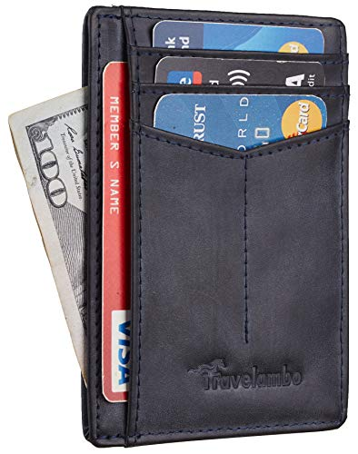 Travelambo RFID Front Pocket Minimalist Slim Wallet Genuine Leather Small Size (CH Crazy Horse Blue)