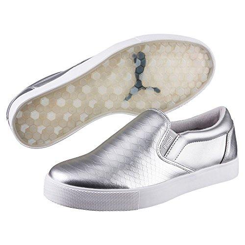 PUMA Women's Tustin Slip-On Golf Shoe, Silver White, 8 Medium US (Puma Woman Casual Shoes)