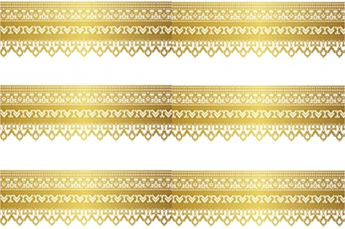 "Gold Trim - Pre Cut Edible Icing Cake Side Strips / Ribbons 3 x Pre-cut Strips of Icing – Each strip is 2.5"" in height x 10"" in width (5 - 10 BUSINESS DAYS DELIVERY FROM UK)"