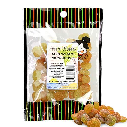 Asia Trans Sour Apple Gummies with Li Hing Mui Plum Powder | Hawaiian Favorite | Sweet & Sour Soft Gummy Candy (2.5 oz)