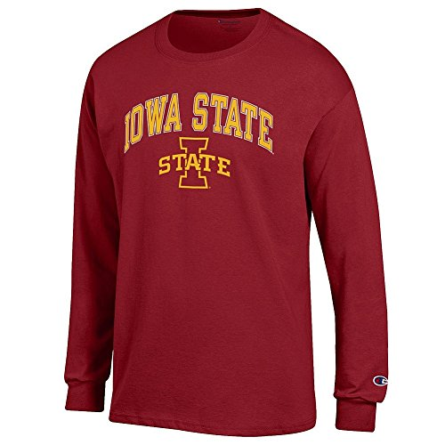 Elite Fan Iowa State Cyclones Men's Long Sleeve Arch Tee Shirt, Garnet, Medium