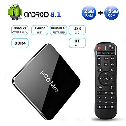 H96 Max X2 Android 8.1 TV Box 2GB DDR4 Ram 16GB ROM EstgoSZ 4K Smart Android Box Amlogic S905X2 CPU Support HDMI 2.1/H265 Decoding/Dual WiFi 2.4G 5.0G/100M Ethernet/BL/USB3.0 Android TV Box