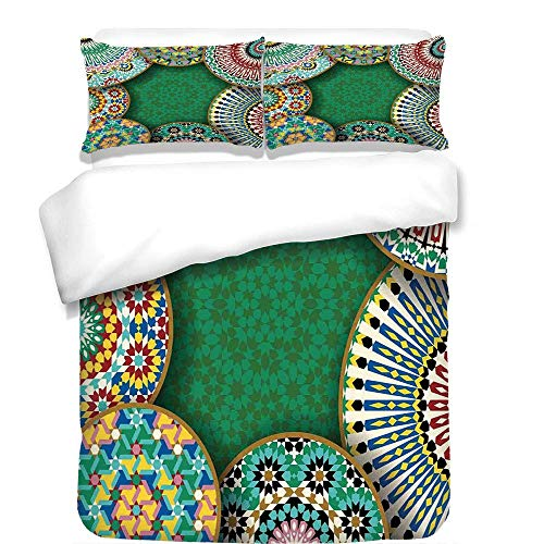 - YCHY 3Pcs Duvet Cover Set,Moroccan,Oriental Motif with Mix of Hippie Retro Circle Morocco Mosaic Lines Sacred Holy Design,Multi,Best Bedding Gifts for Family/Friends