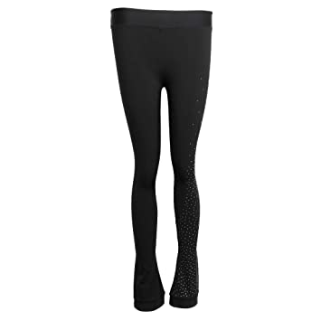 e6d06e5775628 perfk Figure Skating Practice Pants with Rhinestones Ice Skate Training Leggings  Tights for Women Girls -