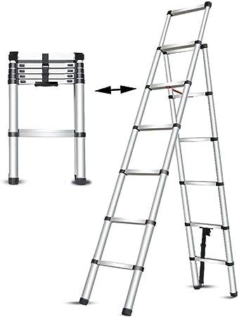 XSJZ Escalera Telescópica, Escalera de Aluminio Portátil Plegable Telescópica Multifunción para Escalera de Escalera de Casa Escalera de Ingeniería Ingeniería Levante 6 + 7 Pasos Escalera Plegable: Amazon.es: Hogar