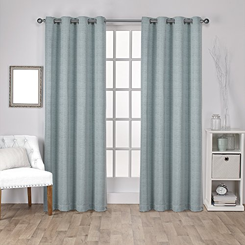 Exclusive Home Curtains Virenze Faux Silk Grommet Top Window Curtain Panel Pair, Marine, 54×84