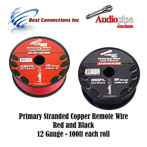 12 GAUGE WIRE RED & BLACK POWER GROUND 100 FT EACH PRIMARY STRANDED COPPER CLAD 12 Ga 100' Primary Wire