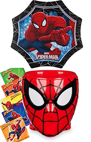Marvel Spider-Man Lunch / Dinner Set with Web Shape Mealtime Plate & Character Head Cup + Bonus Stickers
