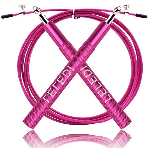Leledi High Speed Jump Rope, Adjustable Cable Ropes Aluminum Handles & Anti-wear Hoses Indoor Outdoor Skipping Rope Training Exercise