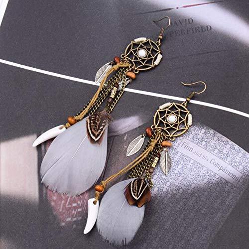 b6035b7f908c Gysad Atrapasueños Pendientes Vintage Pendientes Regalo Creativo Pendientes  de mujer size 13.5CM (Blanco)  Amazon.es  Ropa y accesorios