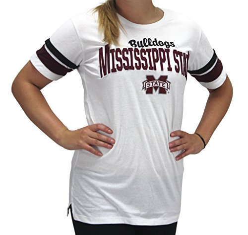 Pressbox Women' s Mississippi State MSU Bulldogs White T-Shirt Runs Small - Mississippi State Msu Bulldogs